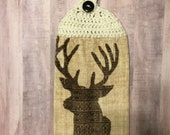 Crocheted Top Dish Towel - Deer Head
