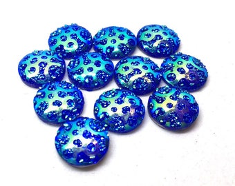 12mm Druzy Cabochons, BLUE polka dots, jewelry making kit, earring set, diy jewelry, druzy studs, 12mm Druzy cabochon, BLUE studs earrings