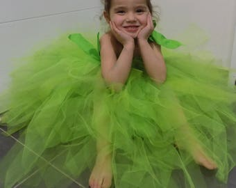 Green princess dress, tulle, Tinkerbell dress bridesmaid dress, dress green stretch tulle