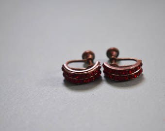 Vintage Red Jeweled Screw Back Earrings Costume Jewelry Earrings Classic Retro Earrings Anniversary Gifts For Her Timeless Jewelry