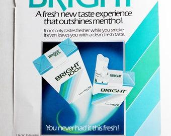 Bright Cigarettes vintage 1980s print ad