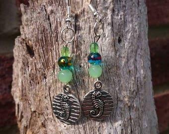 Seahorse earrings, handmade earrings, seaside jewellery, beach jewellery, seahorse, Blue earrings, dangle earrings, gift for Friend