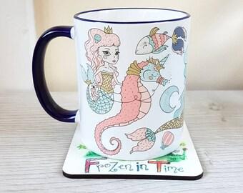 Mermaid coffee mug narwhal seahorse mermaid coffee cup mermaid mug mermaid gift mermaid stuff mermaid mugs office mug gift for her mermaids