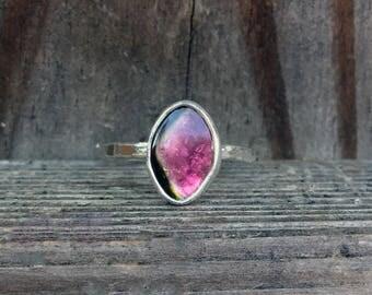 Watermelon Tourmaline Ring - Tourmaline Ring - Bi Color Tourmaline - Gemstone Ring - Stering Silver - Gemstone Ring - Pink Ring - Green Ring