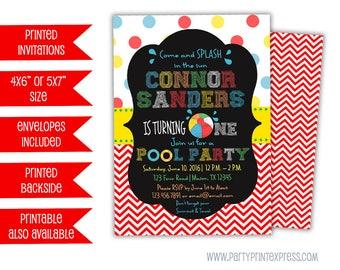 Pool Party First Birthday Invitation - 1st Birthday Pool Party Invite - Beach Ball 1st Birthday Invitation - 1st Birthday Boy - Chalkboard