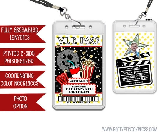 Movie Party VIP Pass Lanyard Invitations Movie Night Birthday