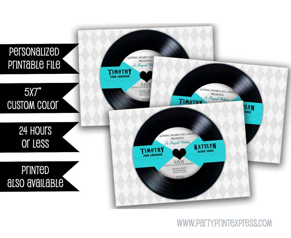 PRINTABLE Vinyl Record Wedding Suite - Retro Wedding Invitation Set ...