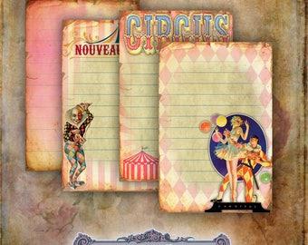 6 Pink Circus Journaling Tags