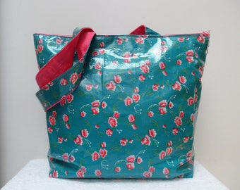 """Zipped bag in coated cotton """"small pan"""" turquoise and peonies"""