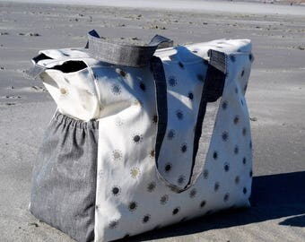Bag weekend, beach bag in coated linen ecru, beige and grey