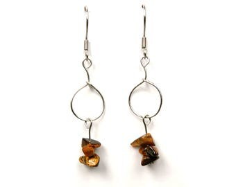 Geometric jewelry, tiger eye earrings contemporary modern jewelry geometric dangle earring gemstone jewelry modern contemporary earring ylic