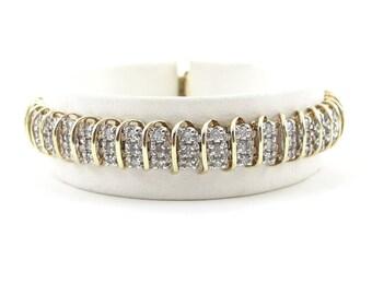"10k Yellow Gold S Link Design Diamond Tennis Bracelet 7"" 2.50 Carats"