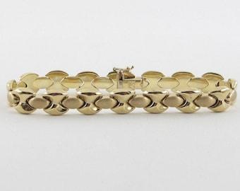 """14k Yellow Gold Hugs And Kisses Bracelet 7"""" 13.2 grams - XO Bracelet"""