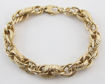 18k Yellow Gold Braided Rolo Link Charm Bracelet 7 1/2 Inches 12.2 grams