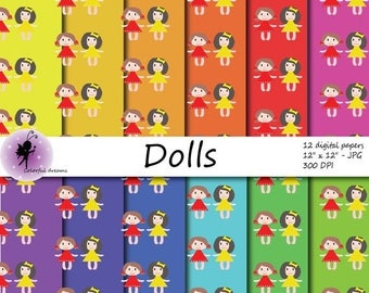 christmas sale paper for kids paper with dolls digital paper scrapbooking papers
