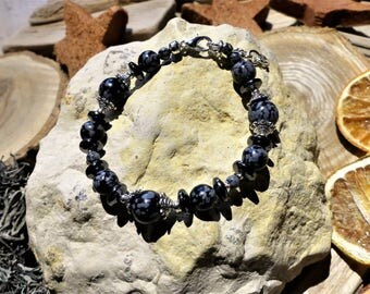 Obsidian and hematite Beads Bracelet