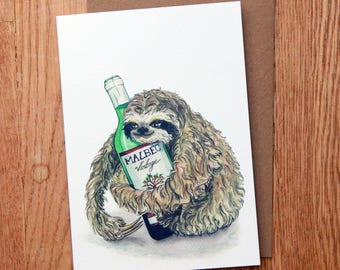 The sloth that loves the wine: hand drawn card