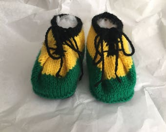 Hand knitted Jamaican coloured baby shoes