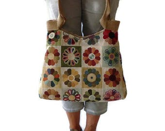 Gobelin shoulder bag, gobelin handbag, floral tote bag, unique bag, floral gobelin, bag with flowers, gift mother