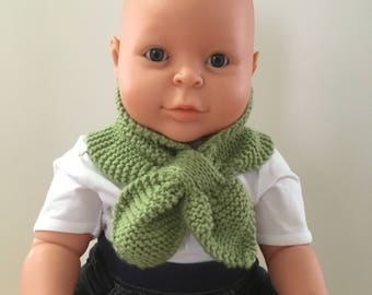 Knitted Neck Warmer for Baby, Baby Scarf, Hand Knit Baby Scarf, Sage, 0-12 mths,scarf, New Baby, Shower Gift, Baby Gift, Baby Boy, Baby Girl
