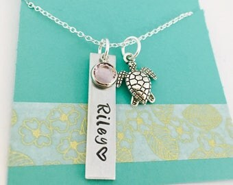 Sea Turtle Necklace, Personalized Turtle Necklace, Turtle Name Necklace, Hand Stamped Turtle Necklace