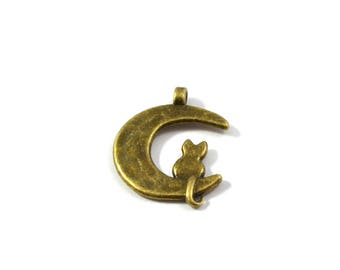 Cat sitting on the color Moon charm bronze