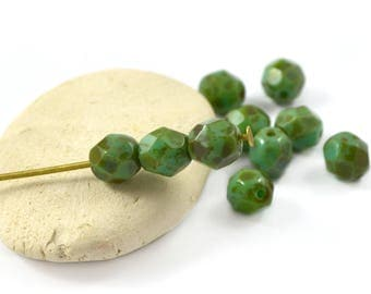 10 oval Czech beads green teal Brown 6 mm Czech glass faceted / PT0101