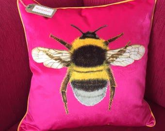 Handmade Velvet Bee Cushion Cover Shocking Pink Sherbert