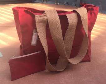 Handmade Waxed Canvas Tote Bag Red