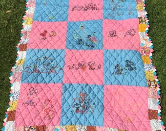 Hand embroidered baby quilt