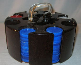Vintage Poker Chips and Caddy - Poker Chip Holder - Plastic Poker Carousel - Plastic Poker Chip Set