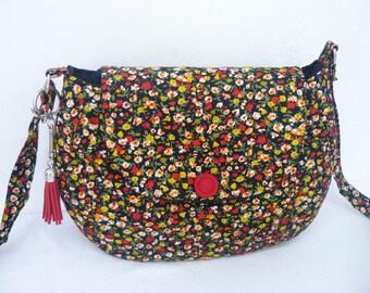 little liberty fabric shoulder bag black yellow flowers