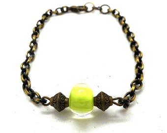 Bronze bracelet spun glass lime bead