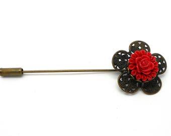 Bronze fibula brooch vintage red flower cabochon