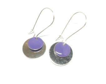Earrings sleepers silver round purple sequin