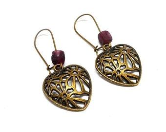 Stud Earrings, hearts, purple