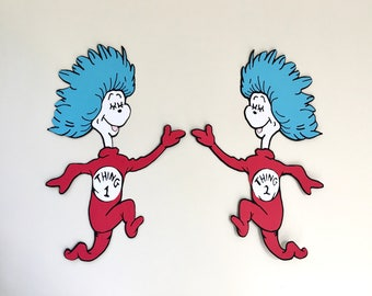 Set of 2 - 18 in Tall Thing 1 and Thing 2, Dr Seuss Party Decoration