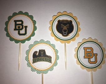 Baylor University Bears - 12 cupcake toppers