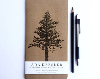 Travelers Notebook | Kraft Travel Journal with Lone Pine Tree Illustration