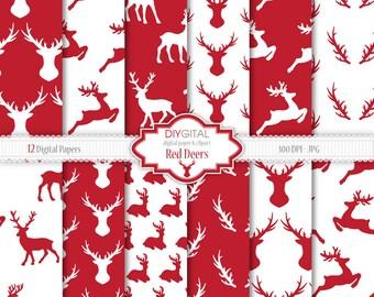 Red Deers and Antlers, Christmas digital paper, 12 winter patterns, woodland deers backgrounds, reindeer patterns, red and white backgrounds