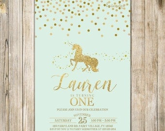 Mint Green MAGICAL UNICORN BIRTHDAY Invite, Gold Glitters Unicorn Party Invitation, 1st First Birthday, Mythical Fairytale Girl One Birthday