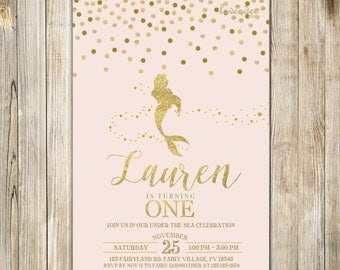 MERMAID BIRTHDAY Invitation, Blush PINK Gold Sparkle Mermaid Invite, Girls 1st Birthday, Under the Sea Party, Splish Splash Pool Party LA23