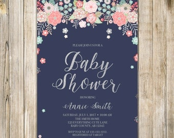 Digital FLORAL BABY SHOWER Invitation, Navy Pink Silver Glitters Baby Girl Shower Invite, Printable Rustic Couples Shower Meet N Greet LA24