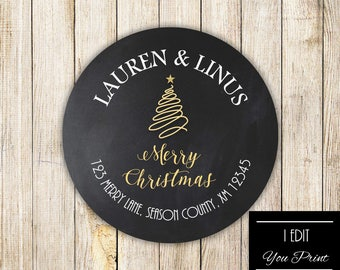 Digital Merry Christmas ADDRESS Labels, HOLIDAY Return Address Labels, Custom Mail Labels, Xmas Address Stickers, Chalkboard Address Labels