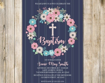 Floral BAPTISM Invitation, Navy Blue Baptism Invite, Baby Girl Baptism Invites, First Holy COMMUNION, Christening, Floral Wreath, Cross LA28