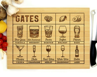 Personalized Cutting Board, Custom Wedding Gift, Bartender Cutting Board, Mixology, Bartender, Glassware, Garnish, Pilsner, Beer, Red Wine