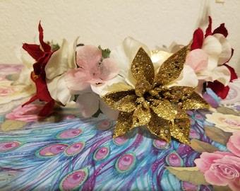 Golden Noel 3/4 Flower Crown
