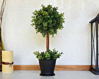 Boxwood Topiary Tree, Topiaries, Artificial Plant, Faux Green Plant, Indoor  Greenery,