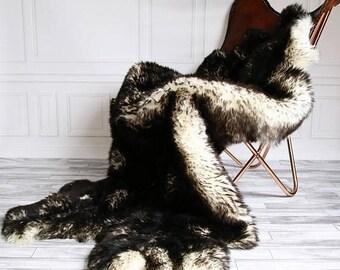 ON SALE Quatro Sheepskin Rug | Long rug | Shaggy Rug | Chair Cover | Area Rug | Black Rug | Carpet | Black Sheepskin