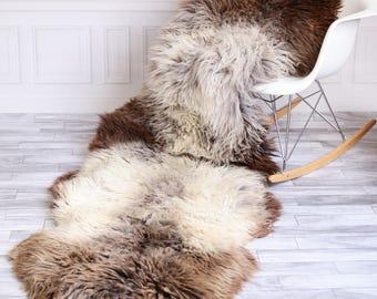 Double Sheepskin Rug | Long rug | Shaggy Rug | Chair Cover | Runner Rug | Brown Rug | Carpet | Brown Sheepskin